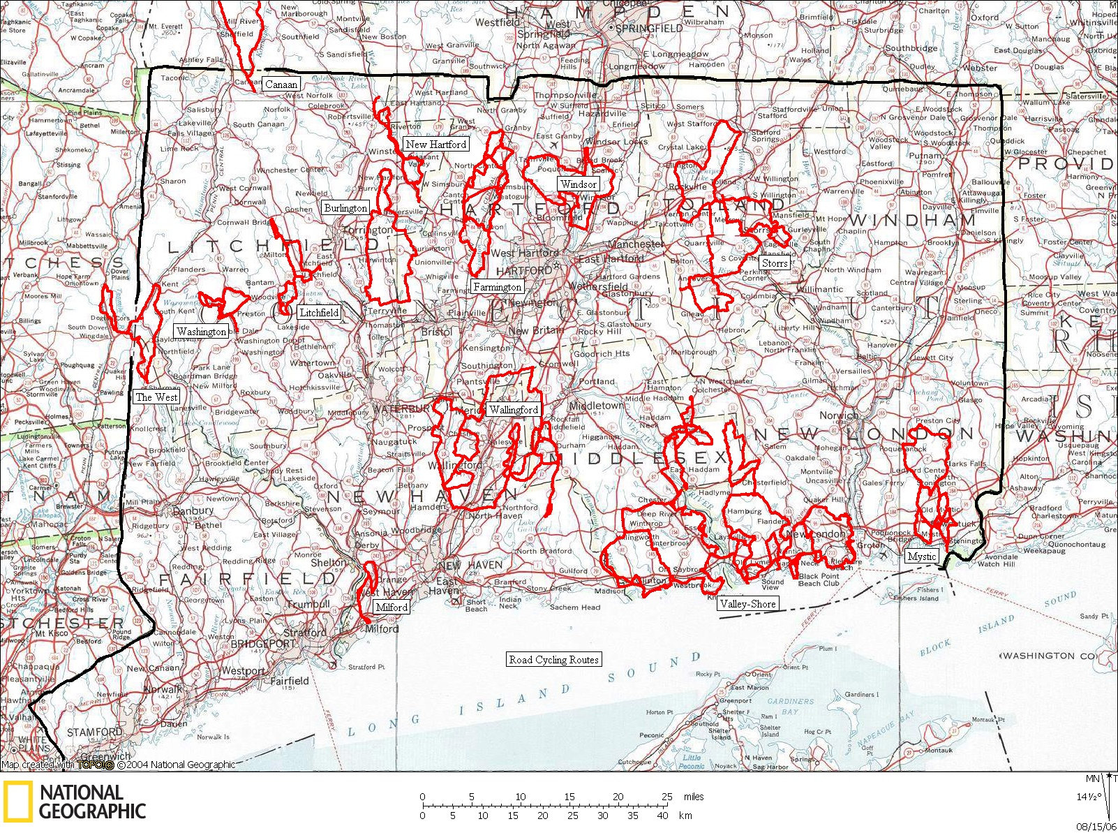 Connecticut, Road, Cycling, Bicycling, Bike, Ride, Routes, Map
